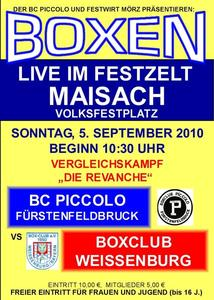 Am 5. September: Boxkampf im Festzelt Maisach
