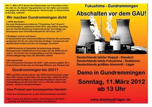 11. März 2012 Groß-Demonstration um 13.00 Uhr in Gundremmingen.