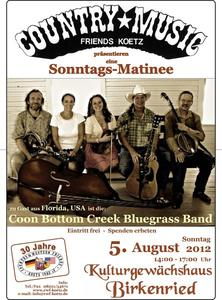 Coon Bottom Creek Bluegrass Band aus Florida gastiert im Kulturgewächshaus Birkenried