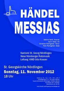 G. F. Händel MESSIAS am 11. November um 18 Uhr in der Nördlinger St. Georgskirche