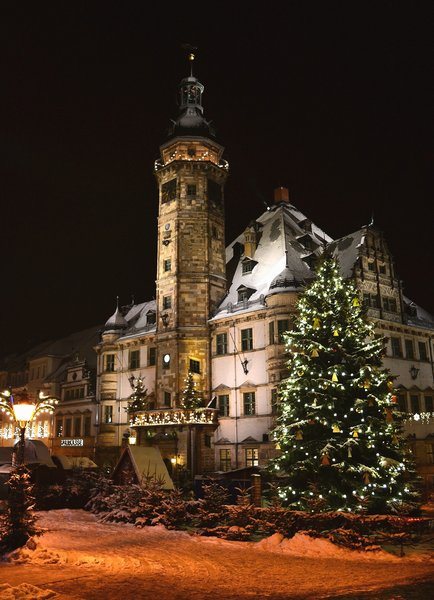 winter, rathaus, stimmung, altenburg