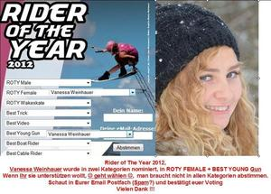 Vanessa Weinhauer, Rider of The Year Wahl im Wakeboarden 2012