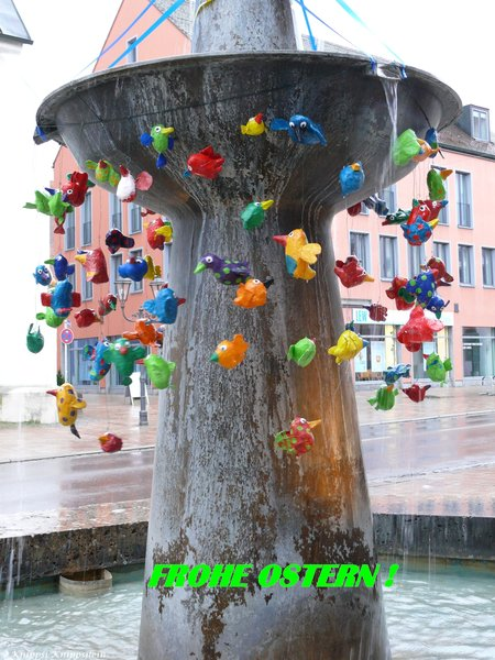 donauwörth, osterbrunnen, frohe-ostern