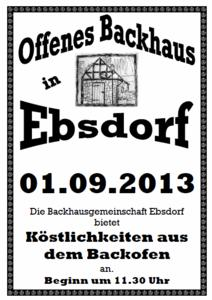 Offenes Backhaus in Ebsdorf am 01.09.2013 ab 11.30 Uhr