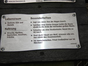 Die Info-Tafel vom Timber - Wolf