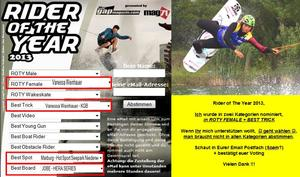 Marburgerin, Vanessa Weinhauer, Rider of The Year Wahl im Wakeboarden 2013