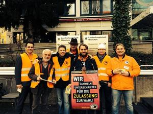 here some candidates of Munich Pirate Party with their team in front of KVR, Poccistrasse, Munich