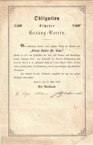 Obligation vom 15. April 1870.