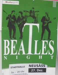 Plakataushang - Beatles Night am 27.12.2014 in der Stadthalle Neusäß
