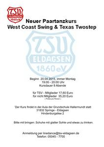Neuer Paartanzkurs -  West Coast Swing & Texas Two Step -