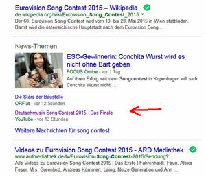 Song Contest landet Video-Hit in den Google News