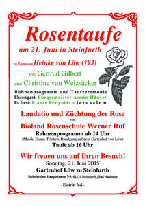 Rosentaufe und Gedenklesung am 21. Juni in Steinfurth Bad Nauheim