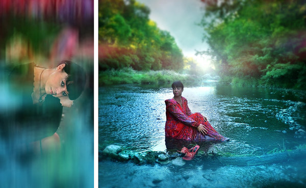 fluss, schwarze-art, blau, collage, selfie, montage