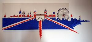 Skyline von London gemalt in Acryl