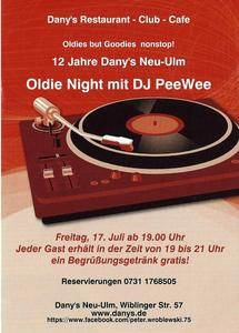 Let's spend a Oldie-Night together! Dany's Club in Neu-Ulm feiert 12 Jahre!