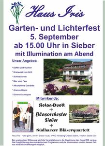 Garten- und Lichterfest im Nationalpark-Partnerhotel Haus Iris in Sieber am 5. September