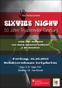 Sixties Night am 16. Oktober in Leipheim mit THE ROCKETS, GET BACK und DJ PeeWee