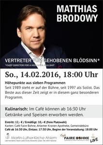 Matthias Brodowy am 14.02.2016 in der Martin-Luther-Kirche Ahlem