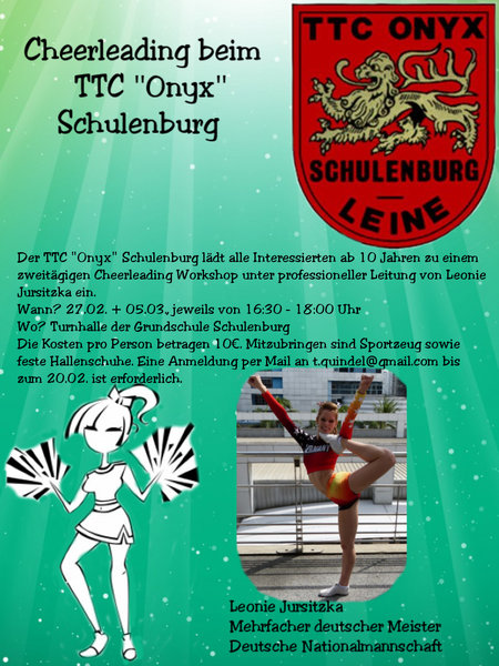 workshop, schulenburg-leine, ttc-onyx, cheerleading