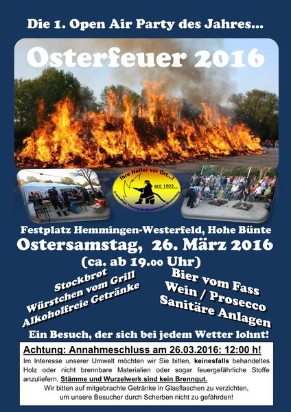 die 1 open air party des jahres osterfeuer 2016 hemmingen. Black Bedroom Furniture Sets. Home Design Ideas
