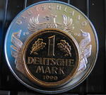 Medaille Deutschland 1990 European Currencies - 1 Mark 1990 Goldauflage