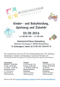 Secondhandbasar in Ronnenberg am 03.09.2016