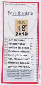 Gedenkminute am 18. November 2016 in Bremen