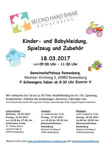 Secondhandbasar in Ronnenberg am 18.03.2017