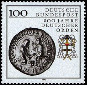 • 800 Jahre Deutscher Orden > [Deutsche Briefmarke 800 Jahre deutscher Orden 1990, Nennwert: 1,00 DM] > https://commons.wikimedia.org/wiki/File:Deut._Briefmarke_1,00_%E2%82%AC_800_Jahre_Deutscher_Orden.png?uselang=de > https://upload.wikimedia.org/wikipedia/commons/7/79/Deut._Briefmarke_1%2C00_%E2%82%AC_800_Jahre_Deutscher_Orden.png