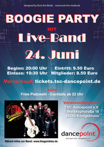 Plakat zur Boogie Party mit der Live Band 'The Gambles'