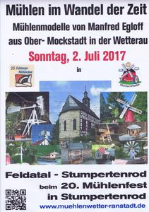 20. Mühlenfest in Stumpertenrod am 2. Juli 2017