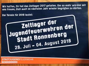 Zeltlager: Save the date 2018