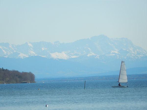 see, segeln, ammersee, bergpanorama