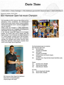 Darts, BSV Hannover Open hat neuen Champion