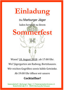 Traditionelles Sommerfest der Marburger Jäger