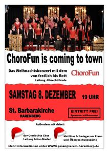 'ChoroFun is coming to town' am 8. Dezember 2018 in der Harenberger St. Barbara Kirche
