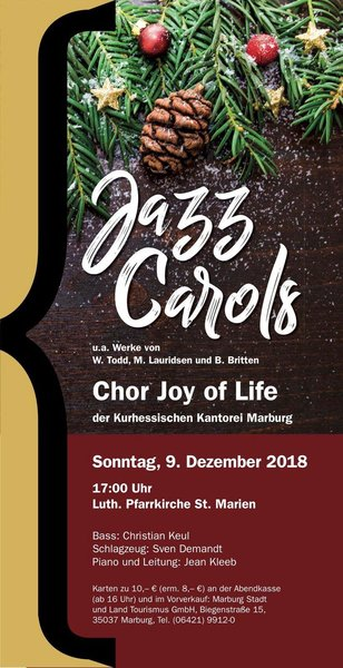Chor Joy of Life Konzert, St. Marienkirche Marburg, Sonntag, 9. 12., 2. Advent, 17 Uhr