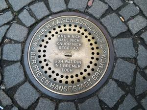 Gestifteter Kanaldeckel in Bremen.