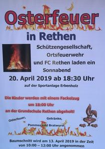 Osterfeuer in Rethen/Leine