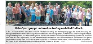 Reha-Sportgruppe TSV Battenberg besucht Therme in Bad-Endbach