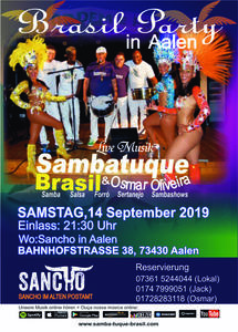 Samba Party in Aalen mit Sambatuque Brasil