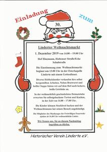 30. Weihnachtsmarkt am 1. Advent in Linderte