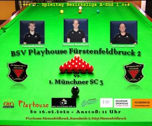 Snooker: BSV Playhouse FFB 2 vs. 1. Münchner SC 3