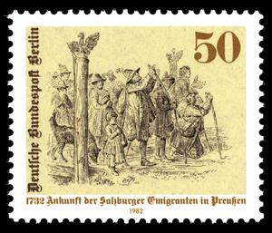 "Briefmarke 1982: ""1732 Ankunft der Salzburger Emigranten in Preußen"" > https://de.wikipedia.org/wiki/Salzburger_Exulanten#/media/Datei:Stamps_of_Germany_(Berlin)_1982,_MiNr_667.jpg"